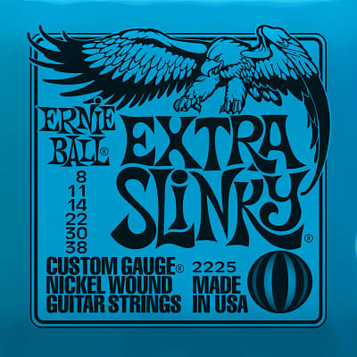Ernie ball Slinky Nickelwound Extra Slinky Guitar Strings 8 - 38 for sale