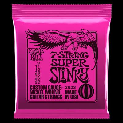 Ernie Ball 2623 Super Slinky 7-String Nickel Wound Electric Guitar Strings - 9-52