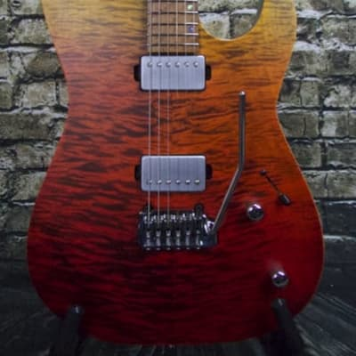 Used Kiesel Theos 6 - Satin Matte Custom Finish Red to Yellow Fade w/ Deluxe Gig Bag
