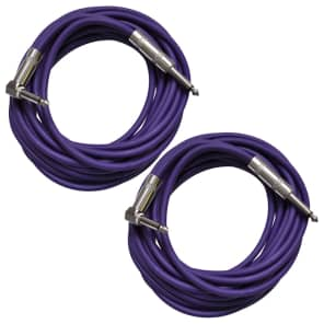 "Seismic Audio SAGC20R-PURPLE-2PACK Straight to Right-Angle 1/4"" TS Guitar/Instrument Cables - 20"" (Pair)"