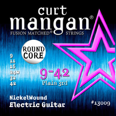 Curt Mangan 9-42 Round Core Nickelwound Electric Guitar Strings - 2 Packs - Free USA  Shipping