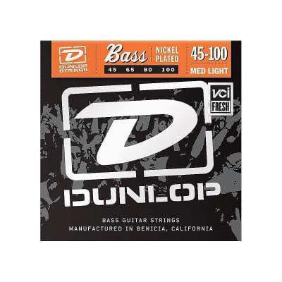 Dunlop DBN45100 Nickel-Wound Stainless Steel Medium Light .45-.100 Electric Bass Strings (4 Set)