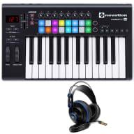 Novation Launchkey 25 MK2 USB MIDI Controller Keyboard + Studio Headphones