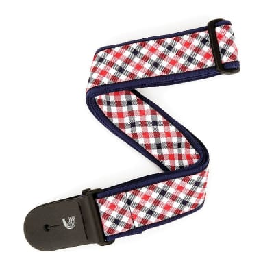 D'Addario - Planet Waves Guitar Strap Red and Navy Gingham