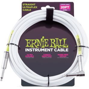 Ernie Ball P06047 Ultraflex Straight 20' Straight to Angled TS Instrument Cable