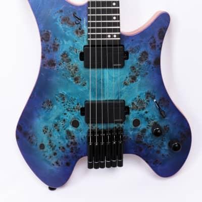 Agile Headless 6 String Electric Guitar GEODESIC 625 BLUE PURPLE BURL for sale
