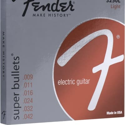 Fender® Super Bullet® Strings, Nickel Plated Steel, Bullet End, 3250L Gauges .009-.042, (6) - Default title