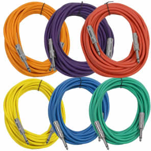 """Seismic Audio SASTSX-25BGORYP 1/4"""" TS Instrument/Patch Cable - 25' (6-Pack)"""