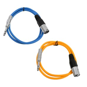 """Seismic Audio SATRXL-M2-BLUEORANGE 1/4"""" TRS Male to XLR Male Patch Cables - 2' (2-Pack)"""