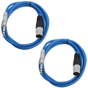 """Seismic Audio SATRXL-M6-BLUEBLUE 1/4"""" TRS Male to XLR Male Patch Cables - 6' (2-Pack)"""
