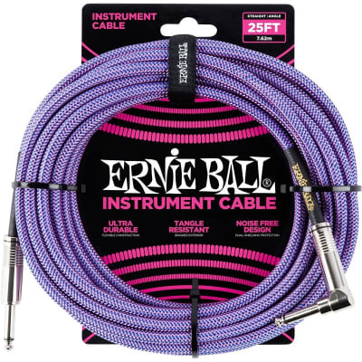 Ernie Ball 6069 Braided Instrument Cable, 25ft/7.6m, Purple for sale