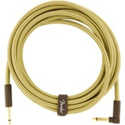 Fender Deluxe TWEED Guitar/Instrument Cable, Straight-Right Angle, 15' ft