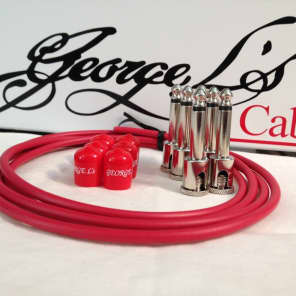 George L's 155 Guitar Pedal Cable Kit .155 Red / Red / Nickel - 6/6/6