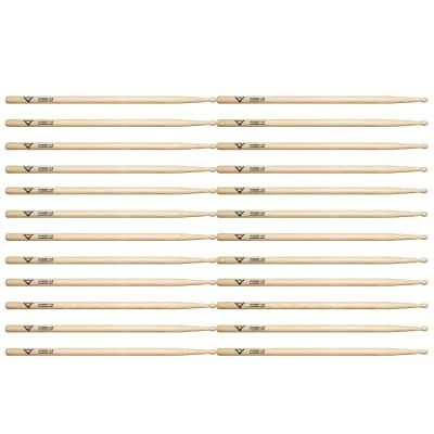 Vater Hickory Power 5B Wood Tip Drum Sticks (12 Pair Bundle)