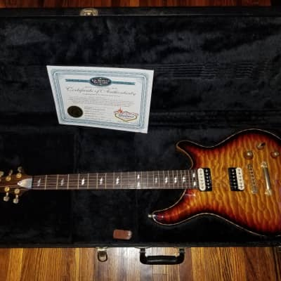 Ed Roman Quicksilver Deluxe No Expense Spared 2005 Black Korina Body Quilt Maple Top Madagascar Ebony Fingerboard And Neck Tobacco Sunburst Seymour Duncan Gold Hardware Push Pull Tkl Sperzel Tuners PRS Spec Kiss Ace Frehley Thunderbolt Inlays for sale