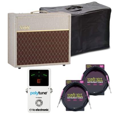 Vox AC15HW1X 1×12″ 15-watt Tube Amp Speaker, Vox AC15C1 Cover, (2) ErnieBall Guitar Cables, TC Electronic Pedal Tuner Bundle for sale