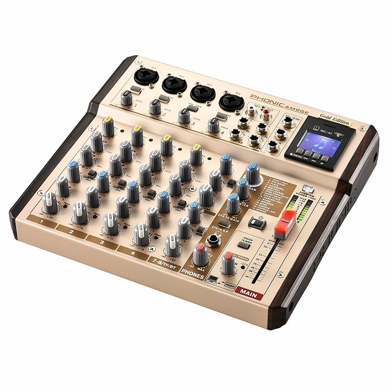 Phonic AM8GE 4-Mic/Line 2-Stereo Input Mixer w DFX, BT, TF Record +USB  Interface
