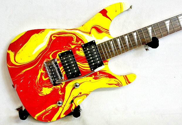 custom swirl painted jackson dinky with reverse headstock reverb. Black Bedroom Furniture Sets. Home Design Ideas