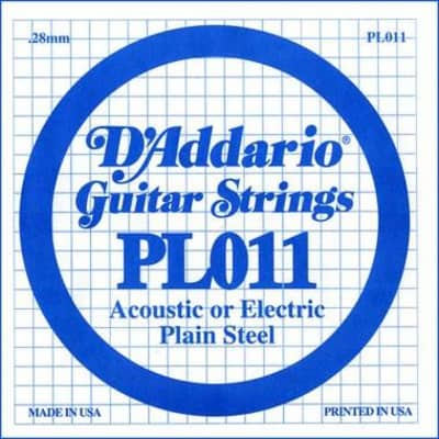 D'Addario PL011 Plain Steel Ball End .011 Single String