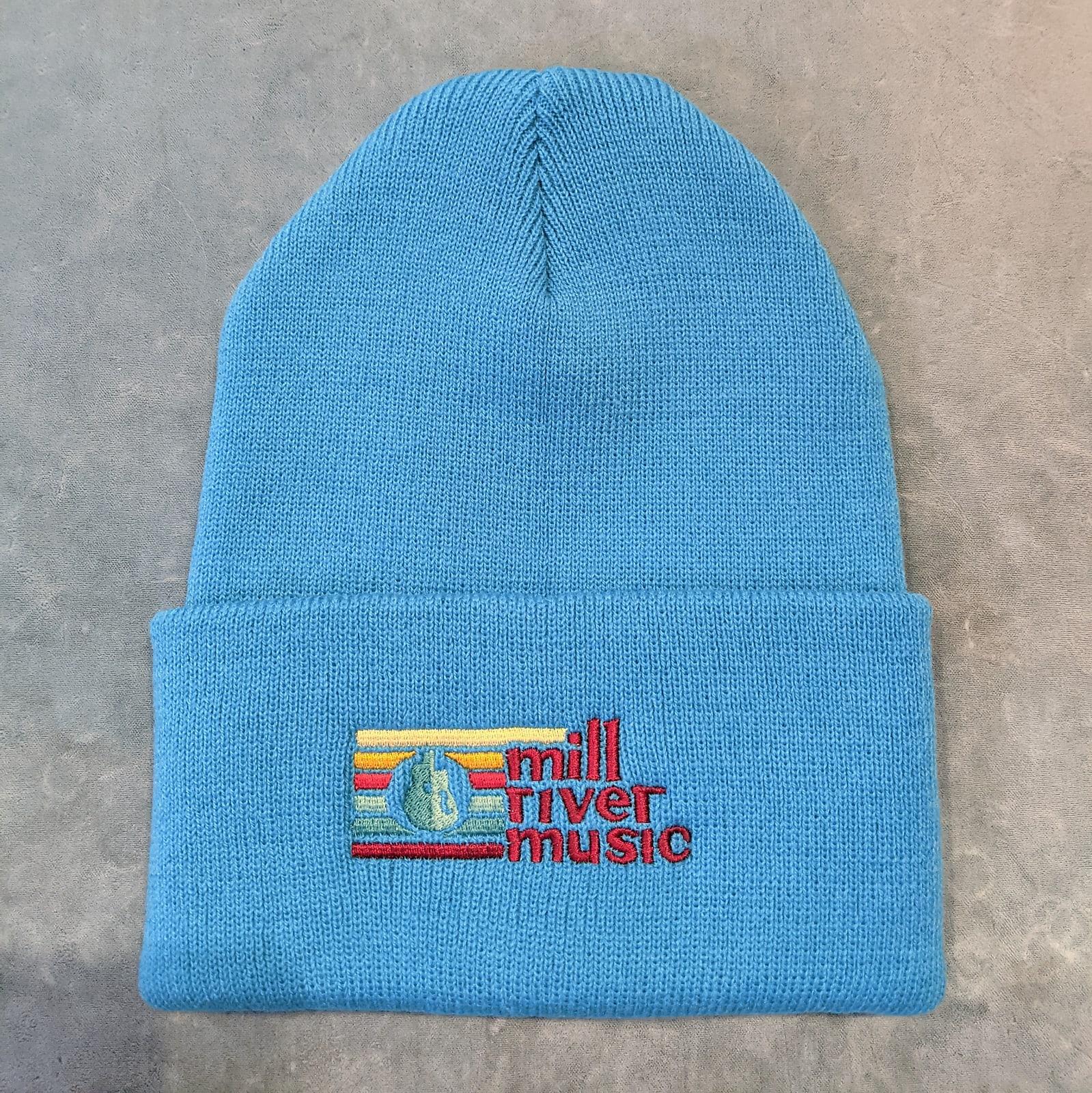 Mill River Music Embroidered Cuff Beanie 1st Ed Main Logo Neon Blue