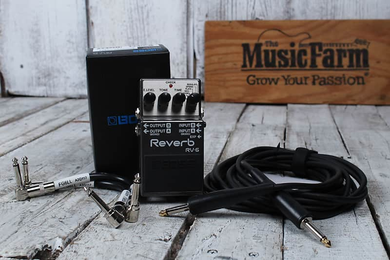 Boss RV-6 Digital Reverb Electric Guitar Effects Pedal with Three FREE Cables image