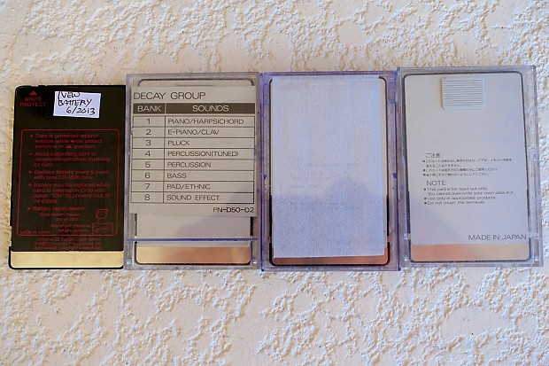 Roland Cards (Voice Crystal, Memory) 4 total for D50 D550 Vintage Synth  Synthesizers PN-D50-02