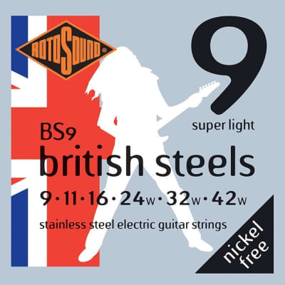 Rotosound BS9 British Steels Electric, Light, 9-42 for sale