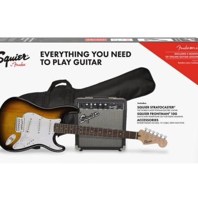 Squier 0371823032 Stratocaster Pack, Laurel Fingerboard, Brown Sunburst, Gig Bag & Amp for sale