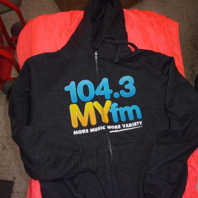 RARE My FM 104.3 Promo So Cal Radio Station Hoodie CH/P/S Full Zipper with draw string MYFM