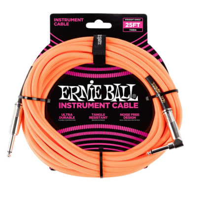Ernie Ball 25' Braided Cable - Straight to Right Angle Plugs