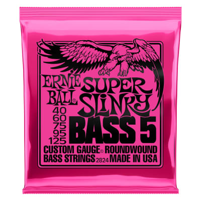 Ernie Ball 2824 Super Slinky 5-String Nickel Wound Electric Bass Strings - 40-125