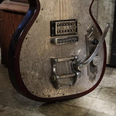 Postal Handmade Gulf Coast Rebel  Silver Plate Top and Bloodwood  Road Worn Gibson Bigsby for sale