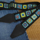 Cosmic Squares USA made Cotton TROPHY Guitar Strap image