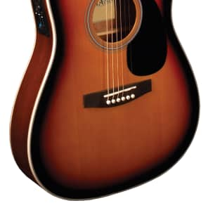 Indiana Acoustic Electric Guitar Thin Body Vintage Burst for sale