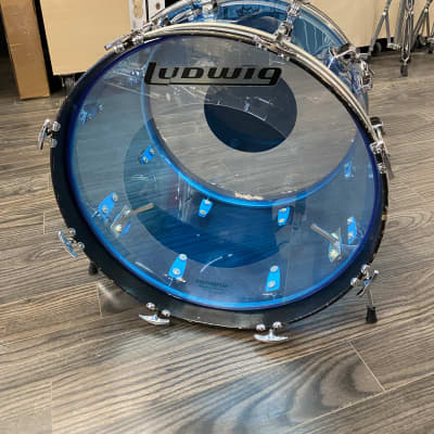 "Ludwig 20"" Blue Vistalite Bass Drum with Rail Mount - Used"