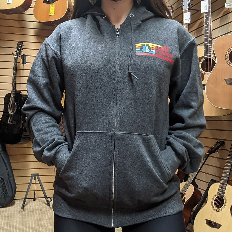 Mill River Music Zip Hoodie 1st Edition Main Logo Unisex Charcoal Heather Small
