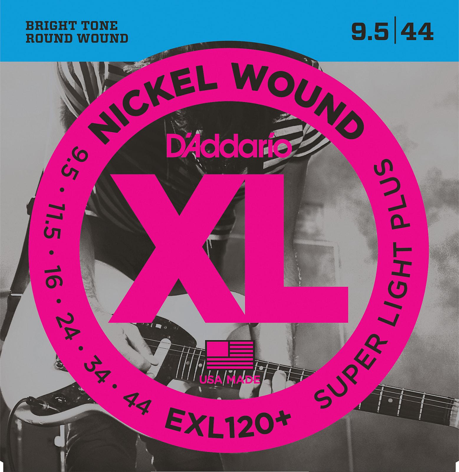 D'Addario EXL120+ Nickel Wound Electric Guitar Strings, Super Light Plus, 9.5-4
