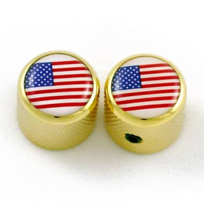 2 For Split Shaft Pots NEW Guitar Dome Knobs TEXAS FLAG ON GOLD