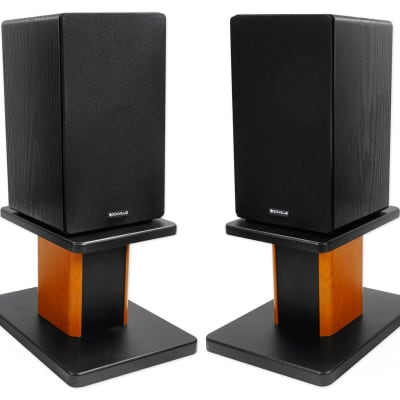 "(2) Rockville RockShelf 68B Black 6.5"" Home Bookshelf Speakers+8"" Wood Stands"