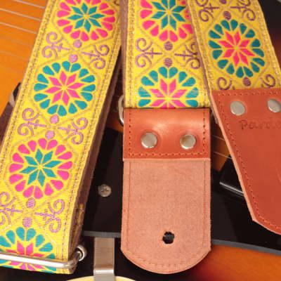 Pardo Guitar Strap Yellow Flower Suede Hippie Vintage For Guitar & Bass