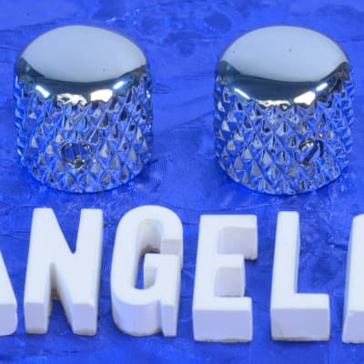 """Two Chrome Vintage Tele Style Knobs With Super Heavy Knurling For 1/4"""" Solid Shaft CTS Pots NEW!"""