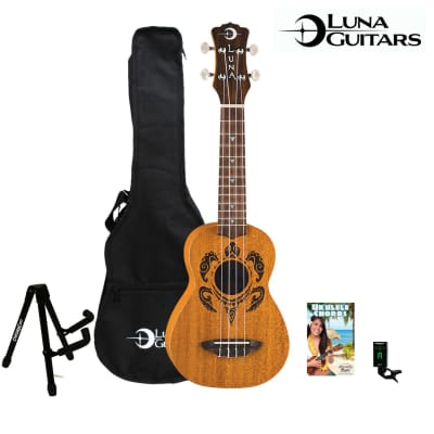 Luna Guitars Honu Turtle Soprano Ukulele with Luna Gig Bag and ChromaCast Clip-On Tuner, Stand & Chord Guide for sale