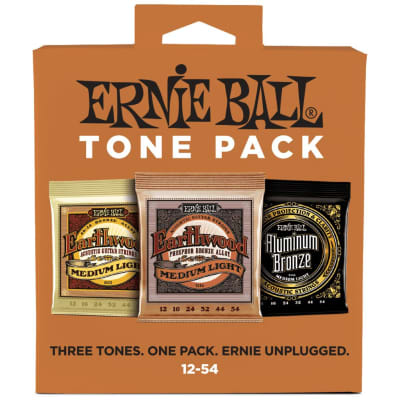 Ernie Ball Medium Light 12-54 Acoustic Guitar String Tone Pack