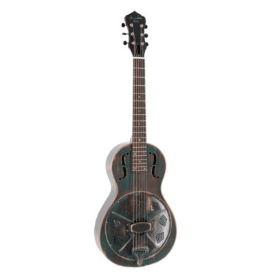 Recording King RM-993-VG   Parlor Metal Body Resonator, Distressed Vintage Green. Now Shipping!