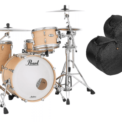 Pearl Masters Complete 22x16_12x8_16x16 Matte Natural Maple Drums | +Free Bags | Authorized Dealer