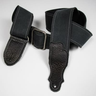 """Franklin 2"""" Distressed Cotton Canvas/Glove Leather End Tab - Black"""