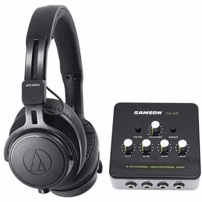 6b256153a85 Audio Technica ATH-M60X Studio Headphones with Samson 4-Channel Headphone  Amplifier