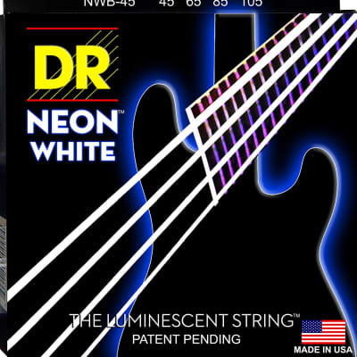 DR NWB-45 4 string Hi-Def Neon White Coated Bass Guitar Strings 45-105 MED 2016 Neon White