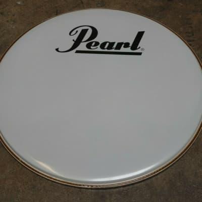 """Pearl  28"""" Smooth White Logo Bass Drum Head"""