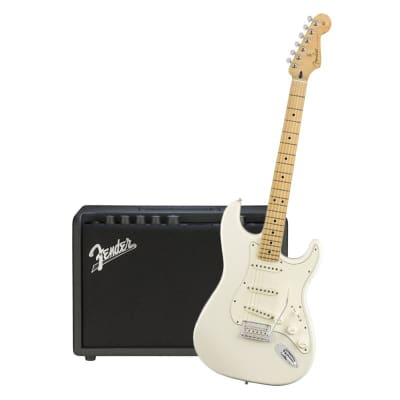 Fender Player Stratocaster Polar White Maple Neck & Fender Mustang GT 40 Bundle for sale